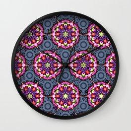 Floral Patterns and Gray Circles Wall Clock