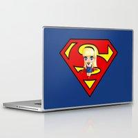 supergirl Laptop & iPad Skins featuring Chibi Supergirl by artwaste