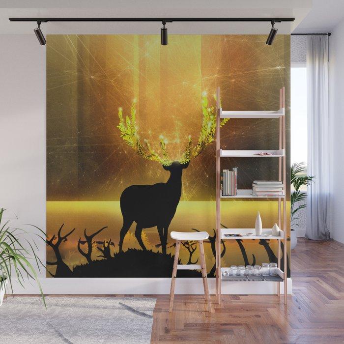 Greenery Deer - Golden Sun Wall Mural