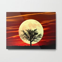 Contemporary Tree Full Moon Red Sky Decor Art A484 Metal Print