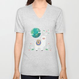 Cute Llama And Earth Unisex V-Neck