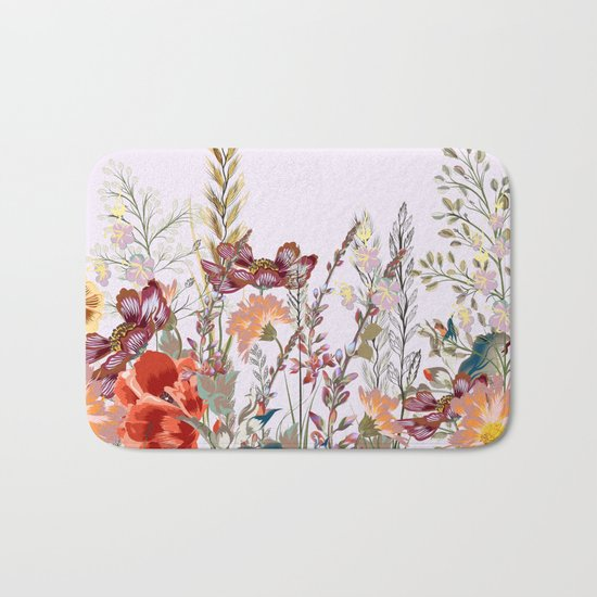 Spring field pattern with poppy and cosmos flowers Bath Mat