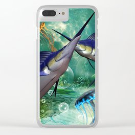 Awesome marlin with jellyfish Clear iPhone Case