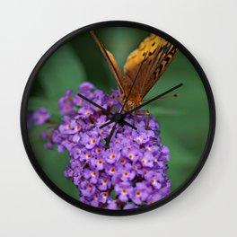 Butterfly on flower Wall Clock