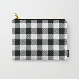 Buffalo Check Black White Plaid Pattern Carry-All Pouch