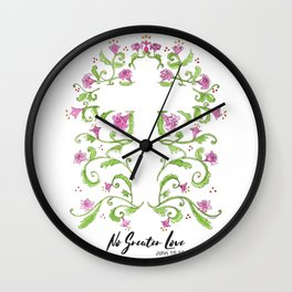 No Greater Love Floral Cross Wall Clock