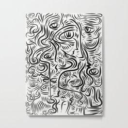 Black and White Street Art Graffiti Faces Vector Metal Print