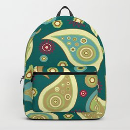Oriental Persian Paisley, Flowers - Blue Green Backpack