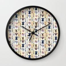 Dog Portraits Plaid Wall Clock