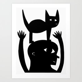 Cat On My Head Art Print