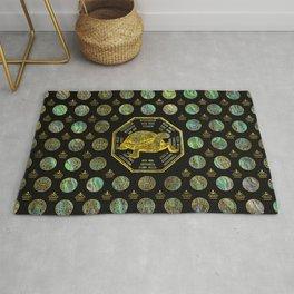 Golden Tortoise / Turtle Feng Shui Abalone Shell Rug