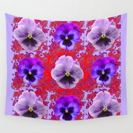 RED & PURPLE PANSIES GARDEN PATTERN Wall Tapestry