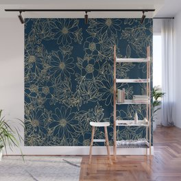 Chic navy blue modern elegant gold floral Wall Mural