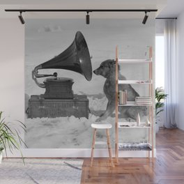 Chris the Dog and the Gramophone, Anarctic snow-covered polar black and white photography / photographs by Herbert Ponting Wall Mural