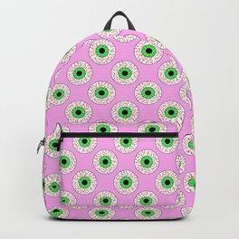 Psychobilly Eyeballs in Retro Pink Backpack