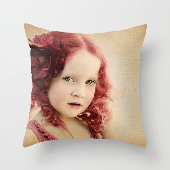 Mila as a Vintage Rose Throw Pillow
