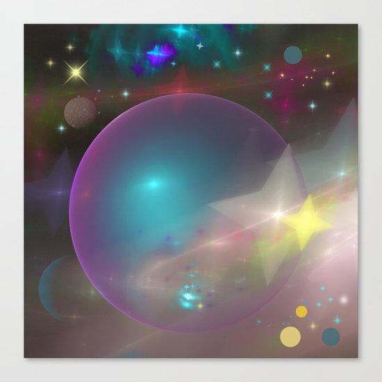 Dreamy galaxy with planets and shining stars Canvas Print