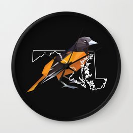 Maryland – Baltimore Oriole (Black) Wall Clock