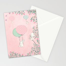 Cute flying Bunny with Balloon and Flower Rabbit Animal on pink floral background Stationery Cards