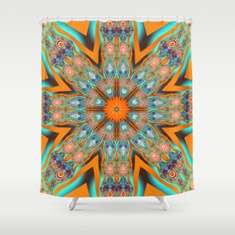 Star shape kaleidoscope with playful patterns Shower Curtain