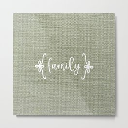 Family on Green Burlap Metal Print