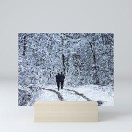 Snow path in the wood, winter walk Mini Art Print