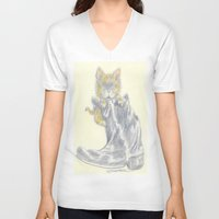 mew V-neck T-shirts featuring Mew by Connie Campbell