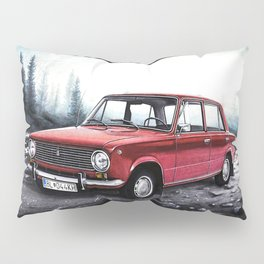 RUSSIAN LADA IN RED WITH SLOVAKIA TATRY MOUNTAINS IN THE BACKGROUND Pillow Sham