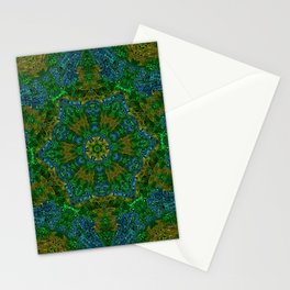 Yellow Green and Blue Kaleidoscope Stationery Cards