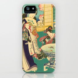 Spring Outing In A Villa Diptych #1 by Toyohara Kunichika iPhone Case
