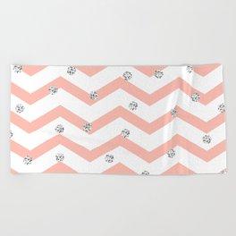Geometrical coral white silver glitter polka dots Beach Towel