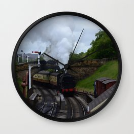 Steam Train In Yorkshire Wall Clock