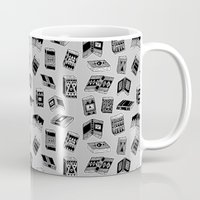 antique Mugs featuring Antique Book Pattern by Stacey Muir