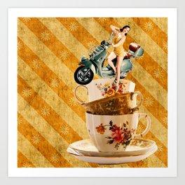Tipsy Tea Cups Art Print