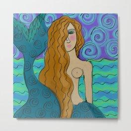 Lovely Mermaid Abstract Digital Painting  Metal Print