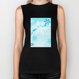 Blue Flower Art Winter Holiday Biker Tank