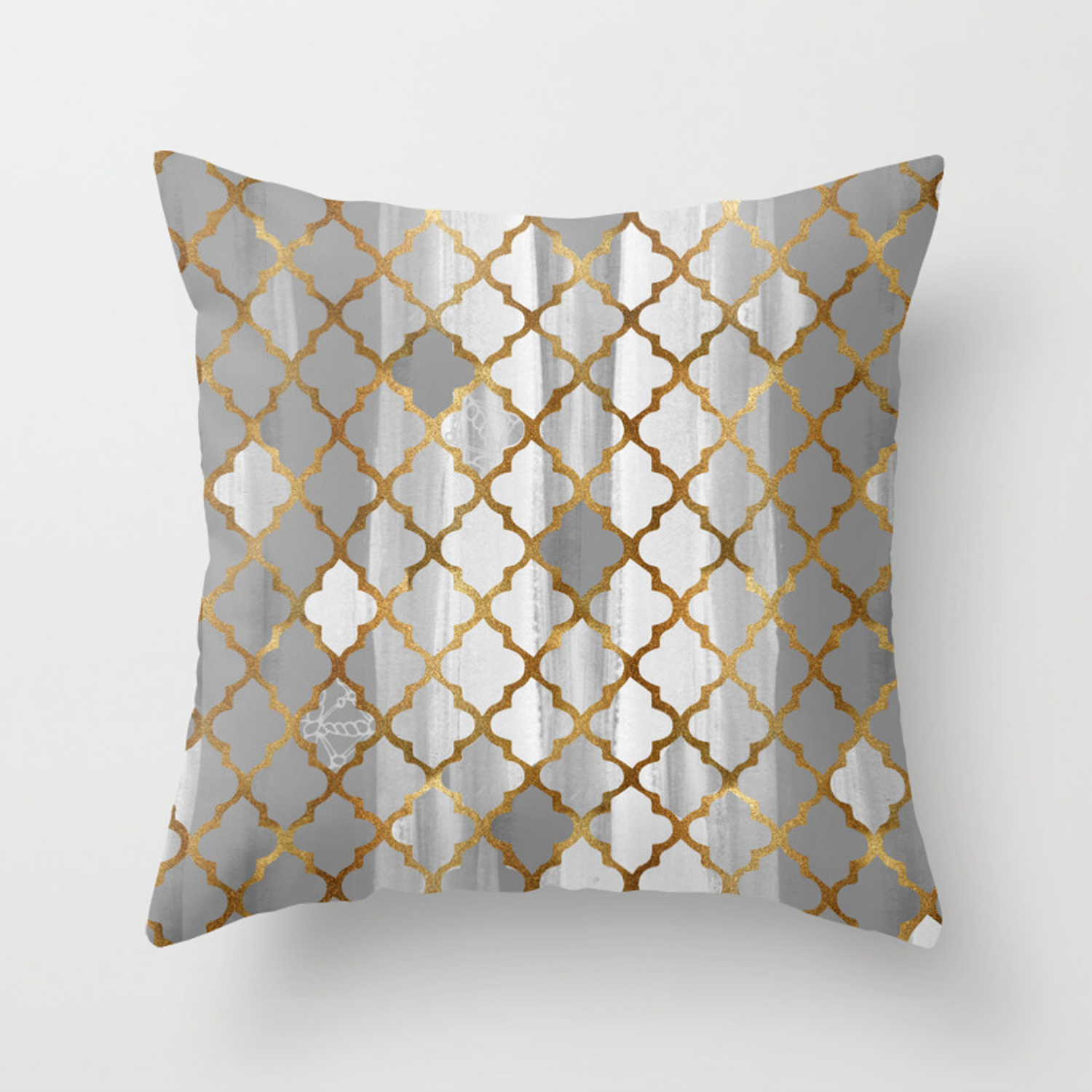 Moroccan Tile Pattern In Grey And Gold Throw Pillow by ekaterinac