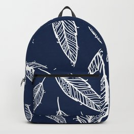 Dark blue and white falling feathers Backpack