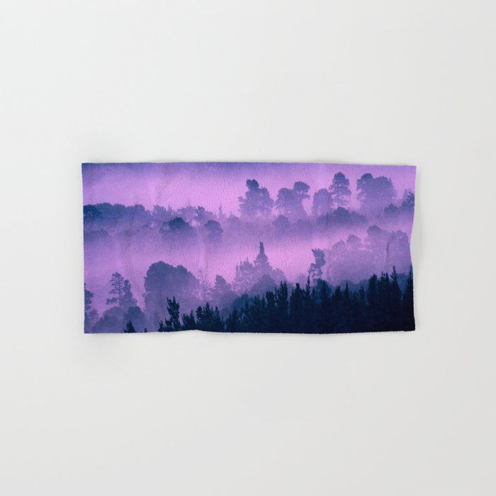 Blue forest in a pink fog Hand & Bath Towel