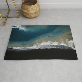 Where the river meets the ocean on a black sand beach in Iceland – Moody Landscape Photography Rug