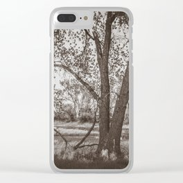 Cottonwoods at Lee's Farm, Sepia 2 Clear iPhone Case