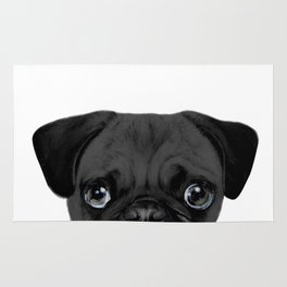 Black Pug, Original painting by miart Rug