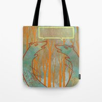 foxes Tote Bags featuring Foxes by Ariel Wilson