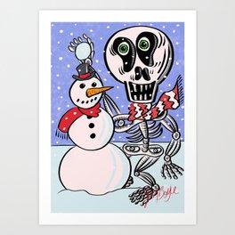 Sherman T. Skully makes a Snowman Art Print