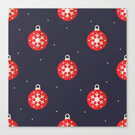 Red Christmas Ornament Pattern Canvas Print