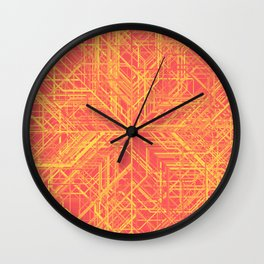 Random Lines Converging in the Center (Yellow/Orange/Red) Wall Clock