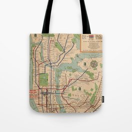 New York City Metro Subway System Map 1954 Tote Bag