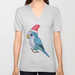 Cute blue Christmas parrot Unisex V-Neck