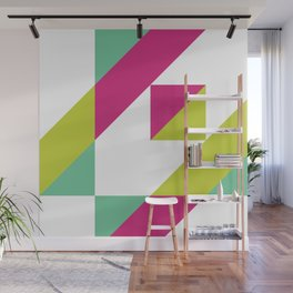 Hot Pink and Neon Chartreuse Color Block Wall Mural