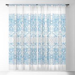 Azulejos Ladies - Handpainted Watercolor Sheer Curtain